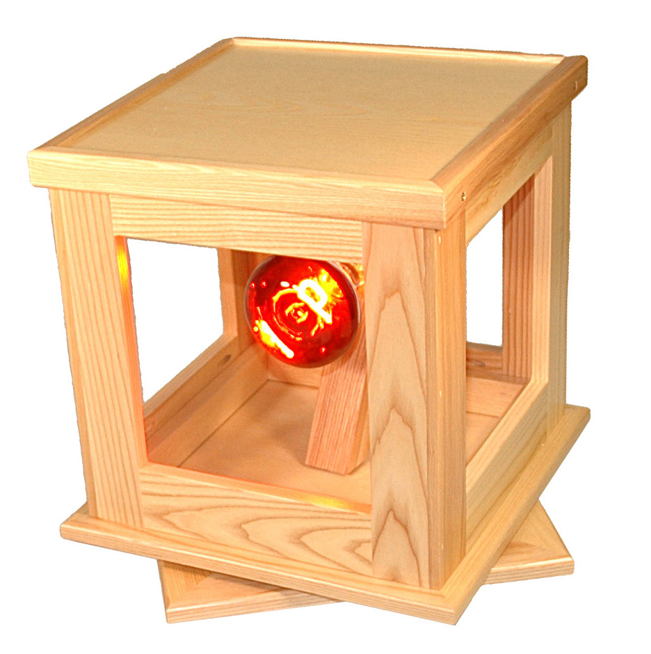 Alpack's insulated glass light-box display provides a highly effective demonstration of insulated glass options.  Also available, but not shown, is an oak pedestal that serves as a table, allowing for a free-standing